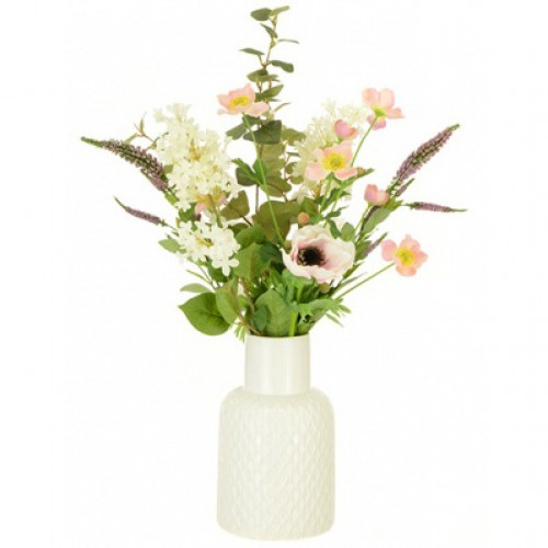 Artificial Flower Arrangements Anemones And Lilac In White Ceramic Vase