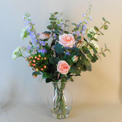 Artificial Flower Arrangement Peach Roses And Larkspur Vase