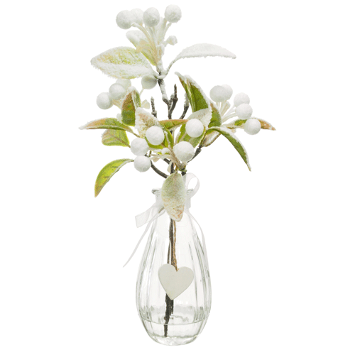 Christmas Flower Arrangements White Snow Berries In Clear Glass Vase