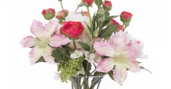 Luxury Artificial Flower Arrangement Pink Garden Flowers In Glass Vase